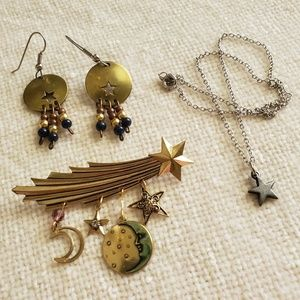Stars and Moons Brooch, Necklace and Earrings